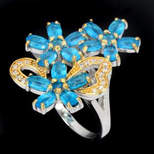Серебряное кольцо с апатитами