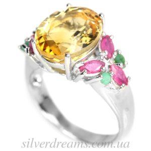 Серебряное кольцо Цитрин-Рубин-Изумруд