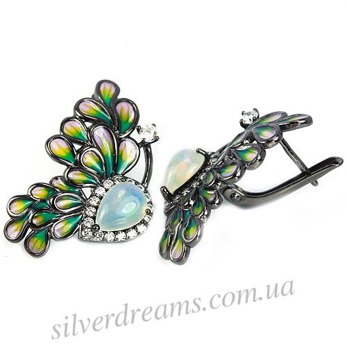 Серебряные серьги-бабочки с опалом и эмалью