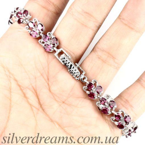 Родолитовый браслет из серебра