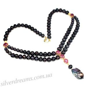 Ожерелье из таитянского жемчуга с рубинами