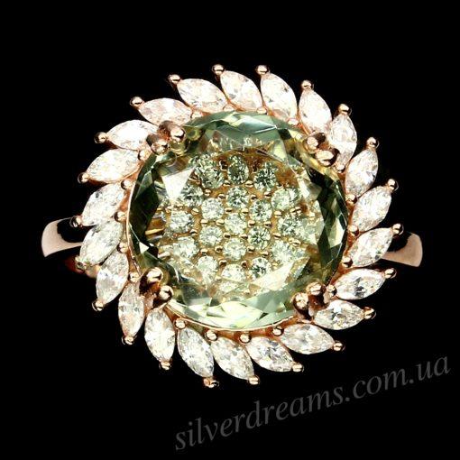 Кольцо с празиолитом в розовом золоте