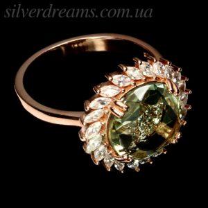 Кольцо с празиолитом в серебре с позолотой