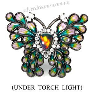 Кольцо бабочка с опалом и цветной эмалью