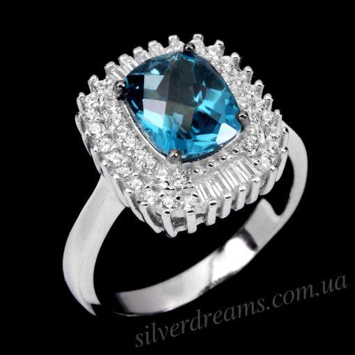 Серебряное кольцо с лондонским топазом