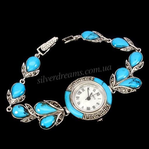 Часы-браслет с бирюзой в капельном серебре