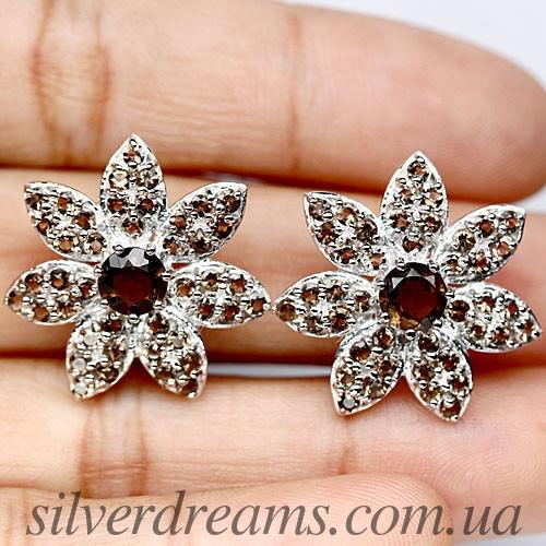Серьги Цветы с раухтопазом в серебре