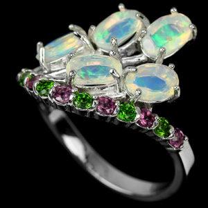 Серебряное кольцо Опал-Родолит-Верделит