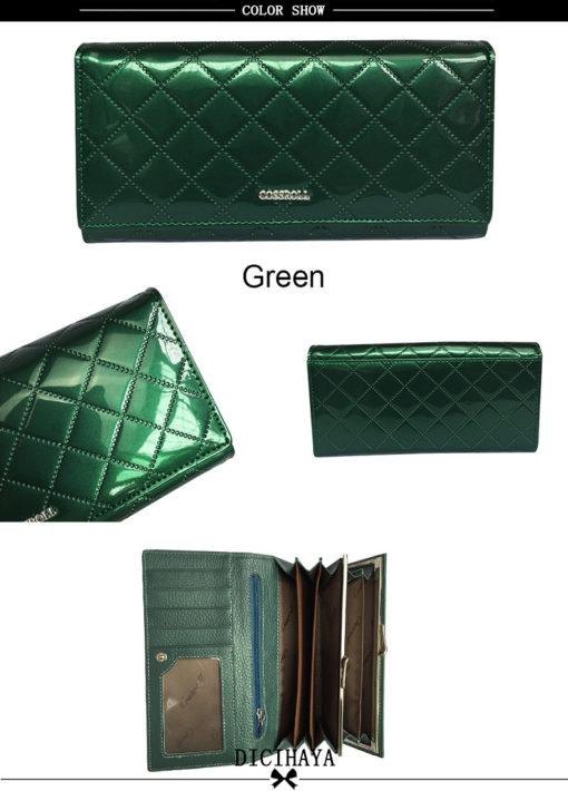 зелёный лакированный кожаный кошелёк
