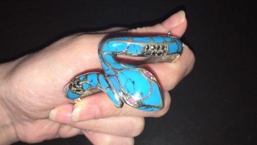 Серебряный браслет Змея с аризонской бирюзой