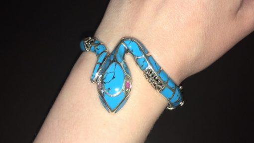 Серебряный браслет Змея с натуральной бирюзой