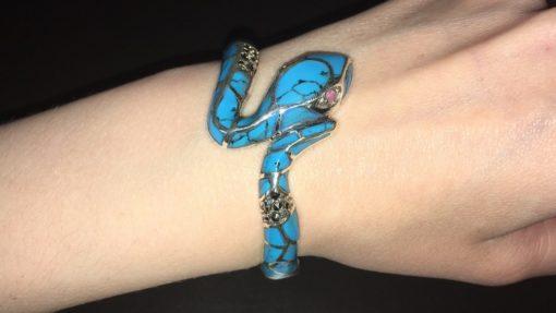 Жёсткий браслет Змея из серебра с бирюзой