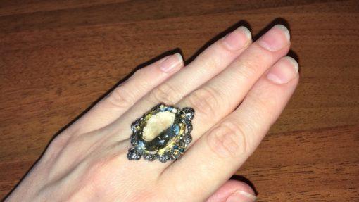 Серебряный перстень с празиолитом в серебре с чёрным родием