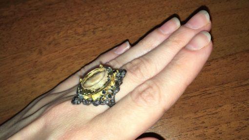 Дизайнерское кольцо с празиолитом в серебре с чёрным родием