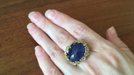 Серебряный перстень с 24-каратным танзанитом
