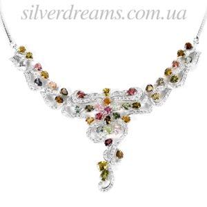 Турмалиновое ожерелье в серебре