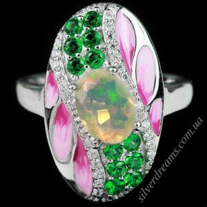 Серебряное кольцо с гранёным опалом и цветной эмалью