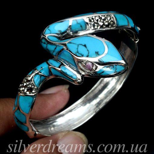 Браслет Змея с бирюзой в капельном серебре