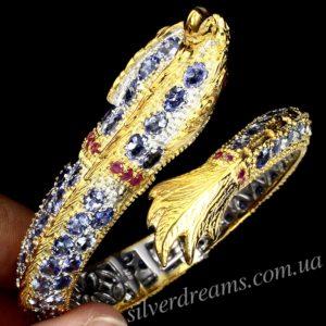 Серебряный браслет-обруч с танзанитами