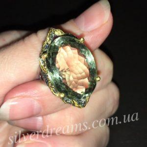 Дизайнерское кольцо с празиолитом
