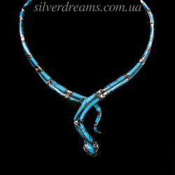 Серебряное колье Змея с бирюзой