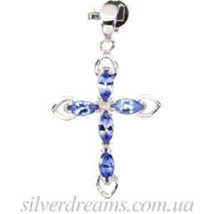 Танзанитовый крестик в серебре
