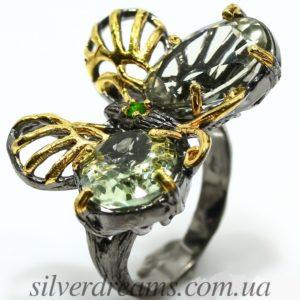 Дизайнерское кольцо Бабочка с празиолитами
