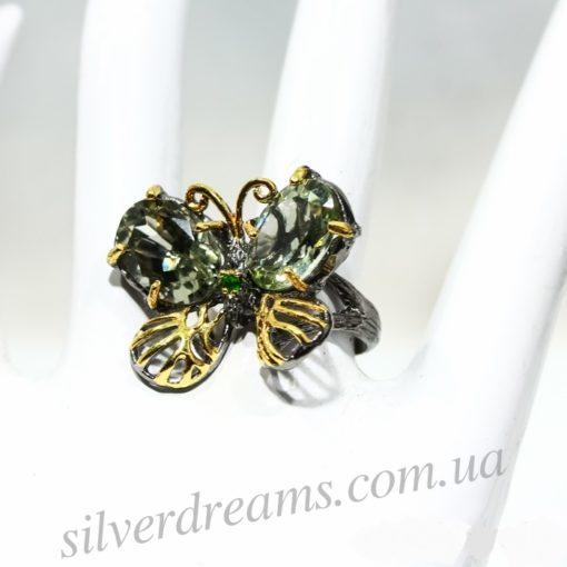 Серебряное кольцо с празиолитами