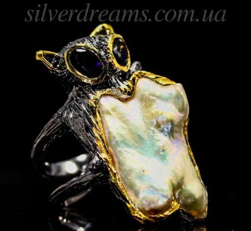 серебряное кольцо с барочным жемчугом