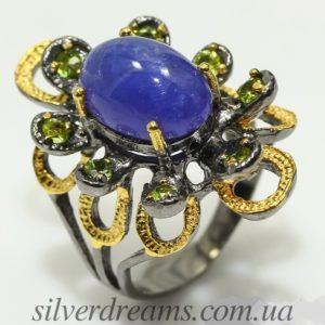 Серебряное кольцо с гладким танзанитом