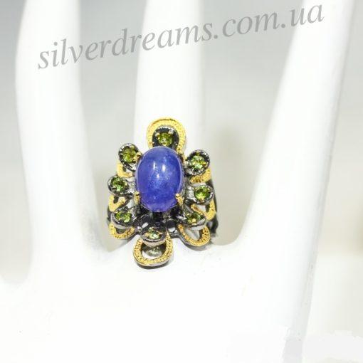 Дизайнерское кольцо с танзанитом