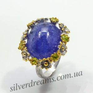 Серебряное кольцо с 24каратным танзанитом
