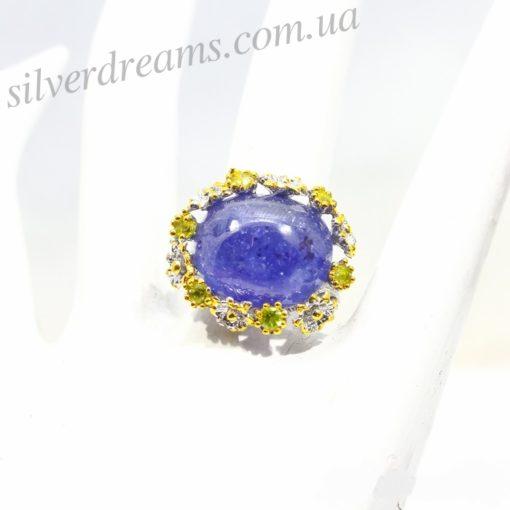 Дизайнерское кольцо с крупным танзанитом в серебре