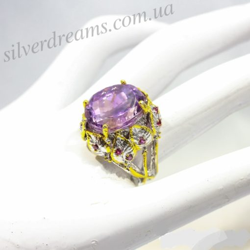 Дизайнерское кольцо с аметрином в серебре с позолотой