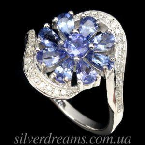 Кольцо Цветок с танзанитами в серебре
