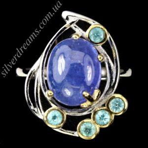 Авангардное кольцо с танзанитом в серебре