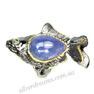 Серебряное кольцо Рыба с крупным танзанитом