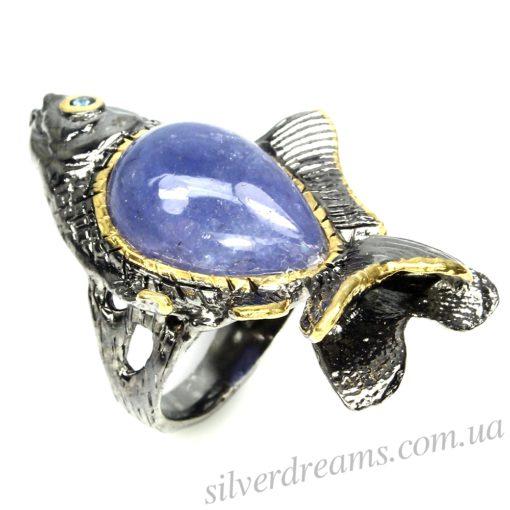 Дизайнерское кольцо Рыба с танзанитом