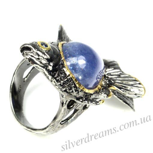 Танзанитовый перстень в серебре