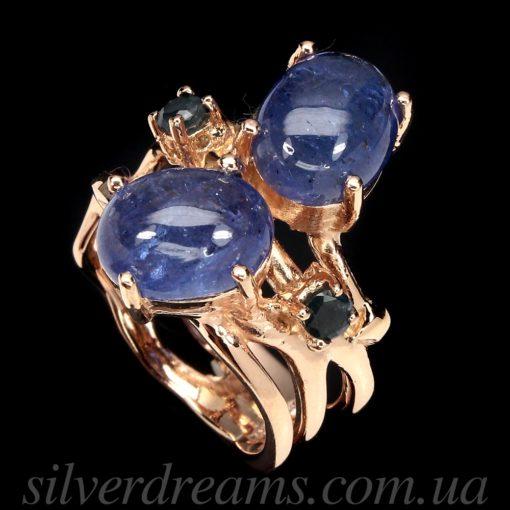Дизайнерское кольцо с гладкими танзанитами