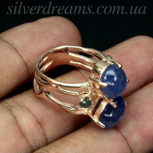 Серебряное кольцо с крупными танзанитами