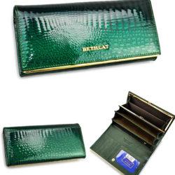 Зелёный лакированный кошелёк из кожи