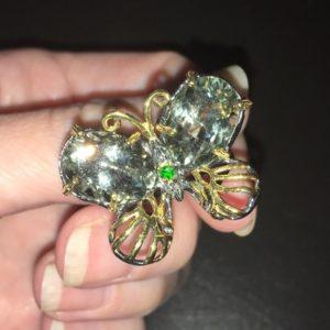 Серебряное кольцо Бабочка с празиолитами