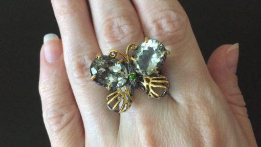 Кольцо Бабочка с празиолитами в серебре