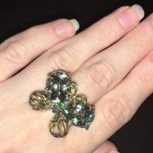 Дизайнерское кольцо Бабочка с крупными празиолитами