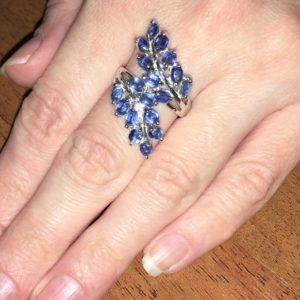 Кольцо с кианитами в серебре