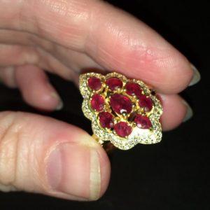 Рубиновое кольцо в серебре с позолотой