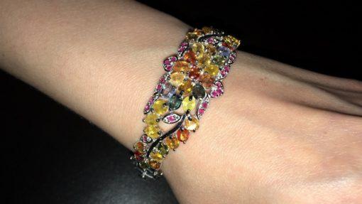Серебряный браслет с мультицветными сапфирами