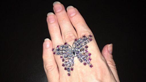 Серебряное кольцо-бабочка Танзанит & Родолит