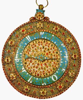 Часы турецкой работы, середина 17 века (Рубины, изумруды, бирюза)